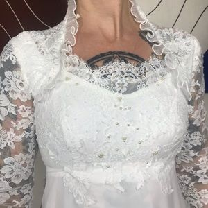 Vintage 70's Unique Neck Lace Wedding Dress